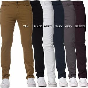 New-KRUZE-Mens-Slim-Fit-Chinos-Stretch-Skinny-Pants-Casual-Smart-All-Waist-Jeans