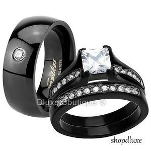 HIS-amp-HERS-3-PIECE-CZ-BLACK-STAINLESS-STEEL-WEDDING-ENGAGEMENT-RING-BAND-SET