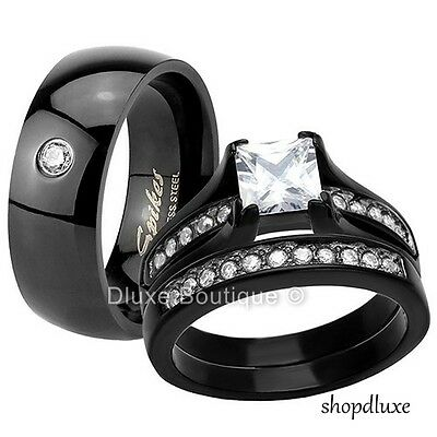 HIS & HERS 3 PIECE BLACK STAINLESS STEEL WEDDING ENGAGEMENT RING BAND SET