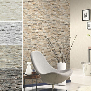 Brick-Effect-Wallpaper-Vinyl-3D-Slate-Stone-Split-Face-Tile-Paste-The-Wall-P-S