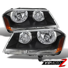 2008-2014 Dodge Avenger Black Front Headlights Assembly LEFT+RIGHT w FREE BULBS