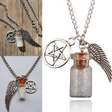 Retro Supernatural Protection Necklace Angel Wing Pentagram Salt Bottle Pendant