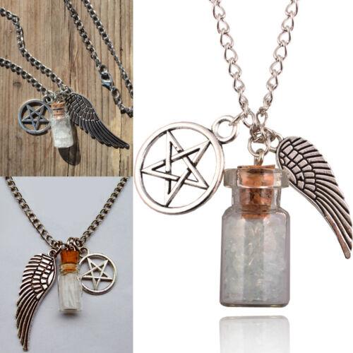 Supernatural Protection Pentacle Angel Wing Rock Salt Bottle pendant necklace