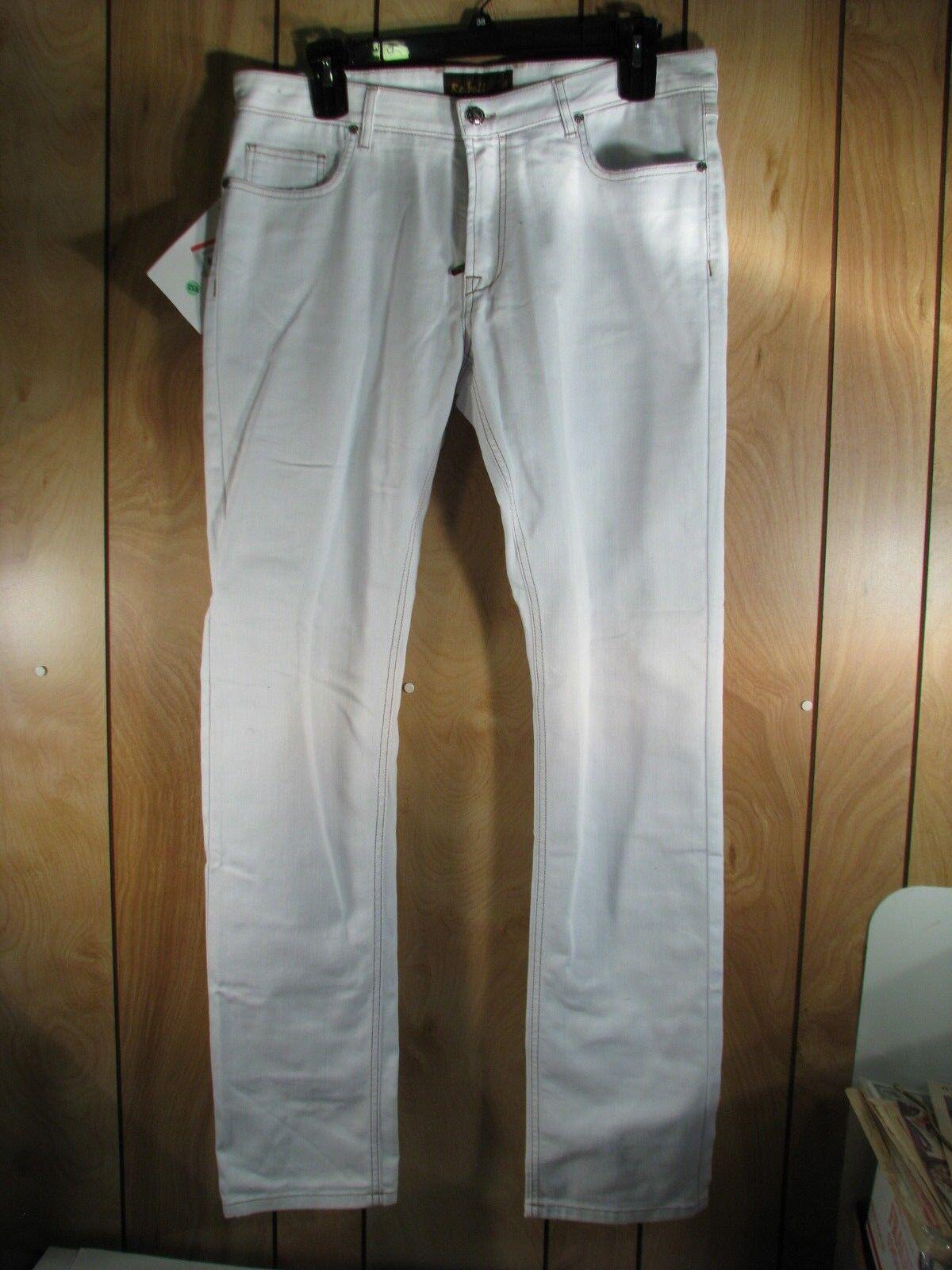 REBELL  White Washed Denim Jeans  Pants  New NWT 38 X 35 Slim   Skinny