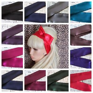 NEW-PLAIN-SATIN-BENDY-WIRED-WIRE-HAIR-WRAP-SCARF-HEAD-BAND-RETRO-VINTAGE-STYLE
