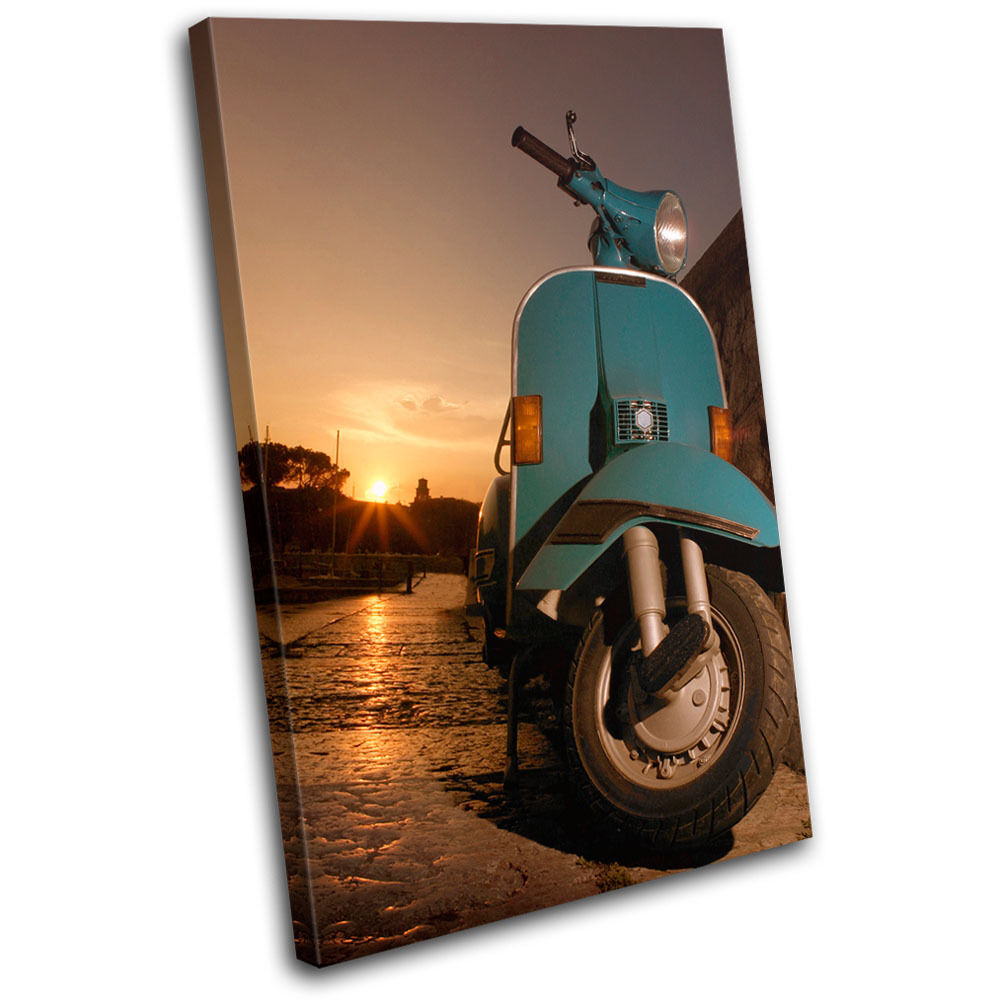 Vintage Scooter Transportation SINGLE TOILE murale ART Photo Print