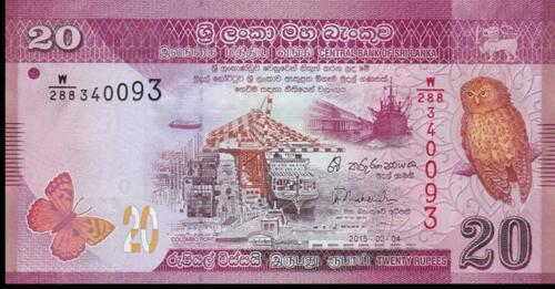 SRI LANKA 20 Rupees USA P 123b ~ UNC from 2015; OWL; FREE SHIPPING Canada