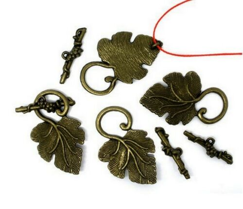 4 Fermoirs Toggle /_ FEUILLE BRONZE 37mm /_ Perles apprêts création  bijoux /_ F033