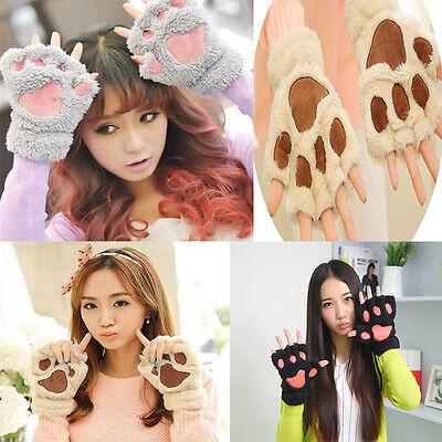 Winter Warm Women Grils Paw Gloves Fingerless Fluffy Bear Cat Plush Paw New