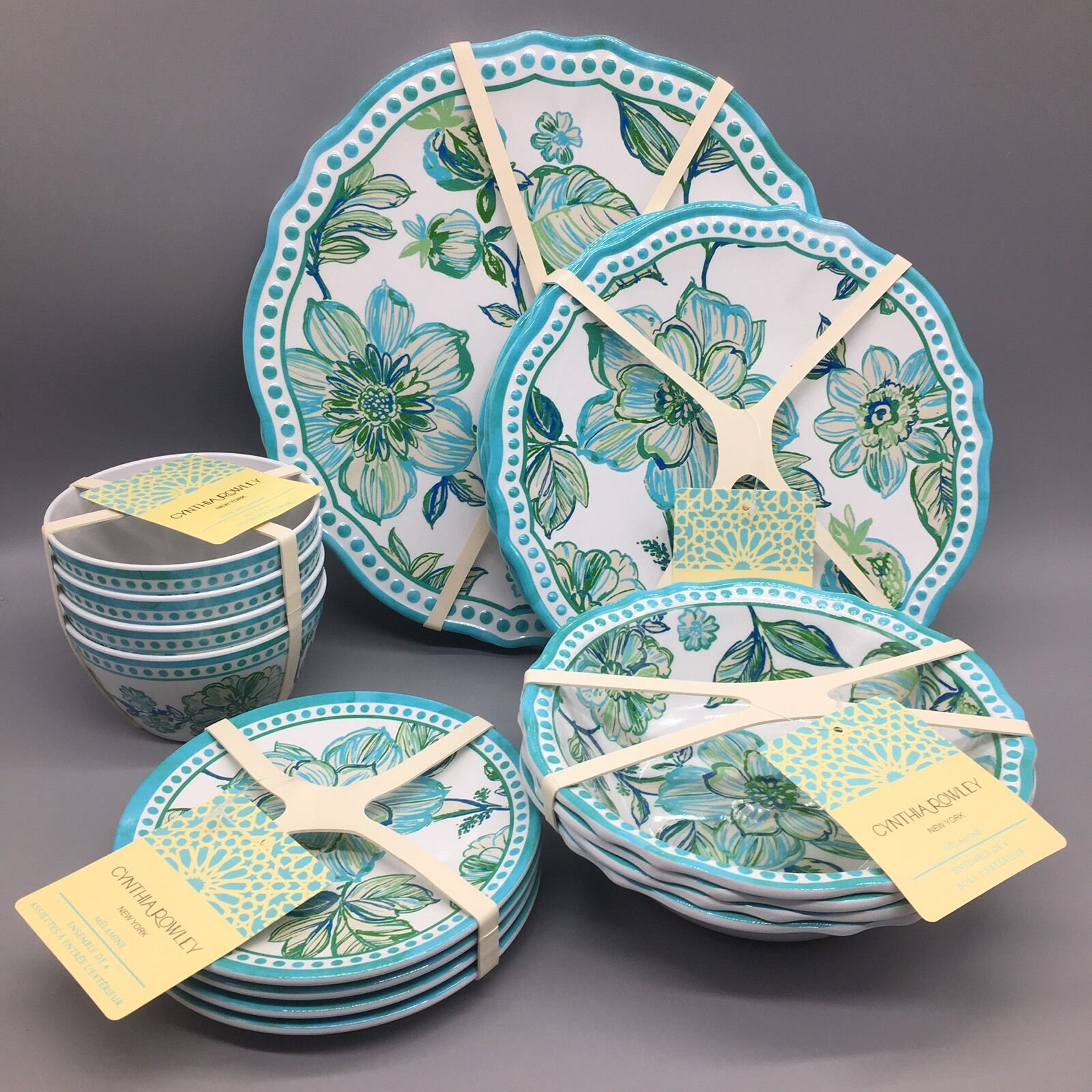 20pc Cynthia Rowley assiettes bols apéritif Set mélamine Outdoor Turquoise Nouveau