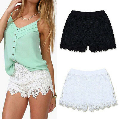 2014 Womens Ladies Girls White Broderie Floral Denim Lace Shorts Elastic Pants