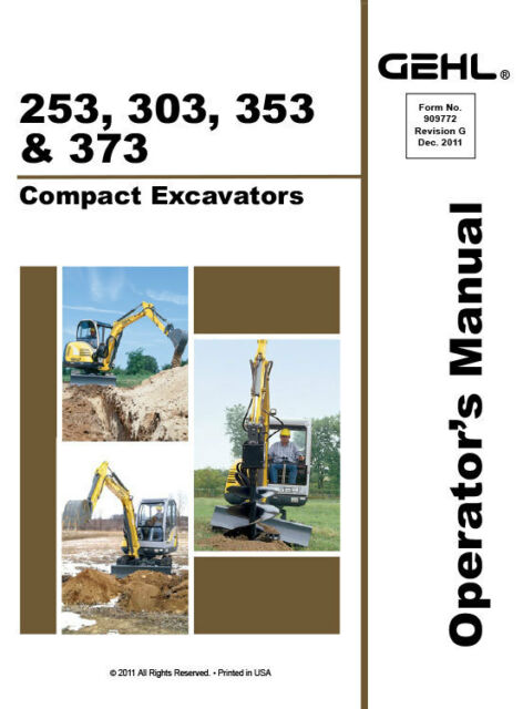 gehl 303 compact excavator illustrated master parts list manual instant download