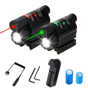 Tactical Laser Sight Q5 LED Flash Light Combo+Rail Mount Remote Switch for Rifle