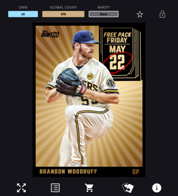 Topps Bunt Card Trader - FREE PACK FRIDAY - BRANDON WOODRUFF (Gold) *Digital