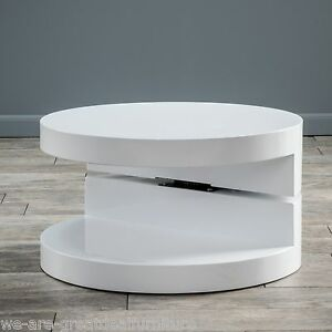 Modern Design White Hi Gloss Circular Swivel Rotating Coffee Table