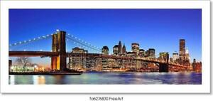 D New York City Brooklyn Bridge Art Print Home Decor Wall Art Poster