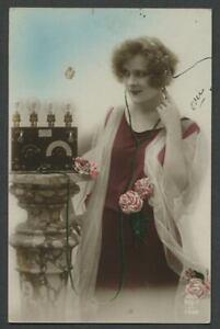 c-1920-French-RPPC-Postcard-T-S-F-Transmission-Sans-Fil-WOMAN-ON-WIRELESS-RADIO