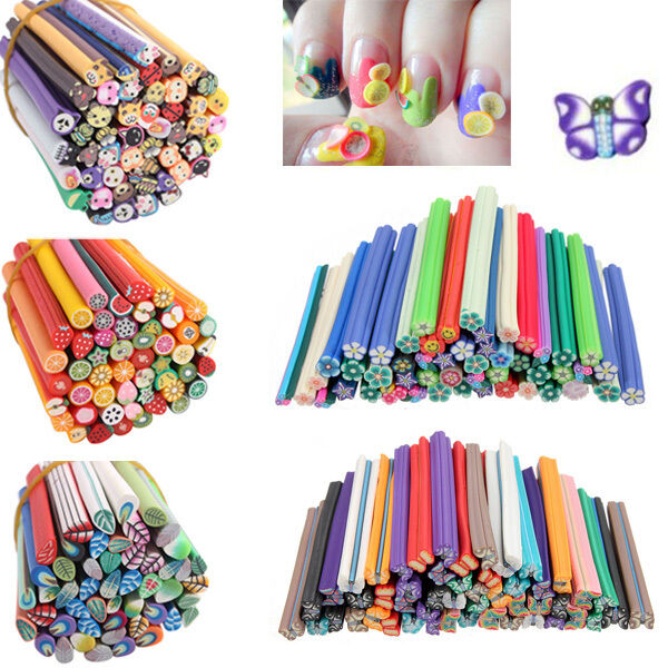 Colorful 50pcs Nail Art Tips Fimo Canes Rods Polymer Clay Stickers Deco 3D Cute