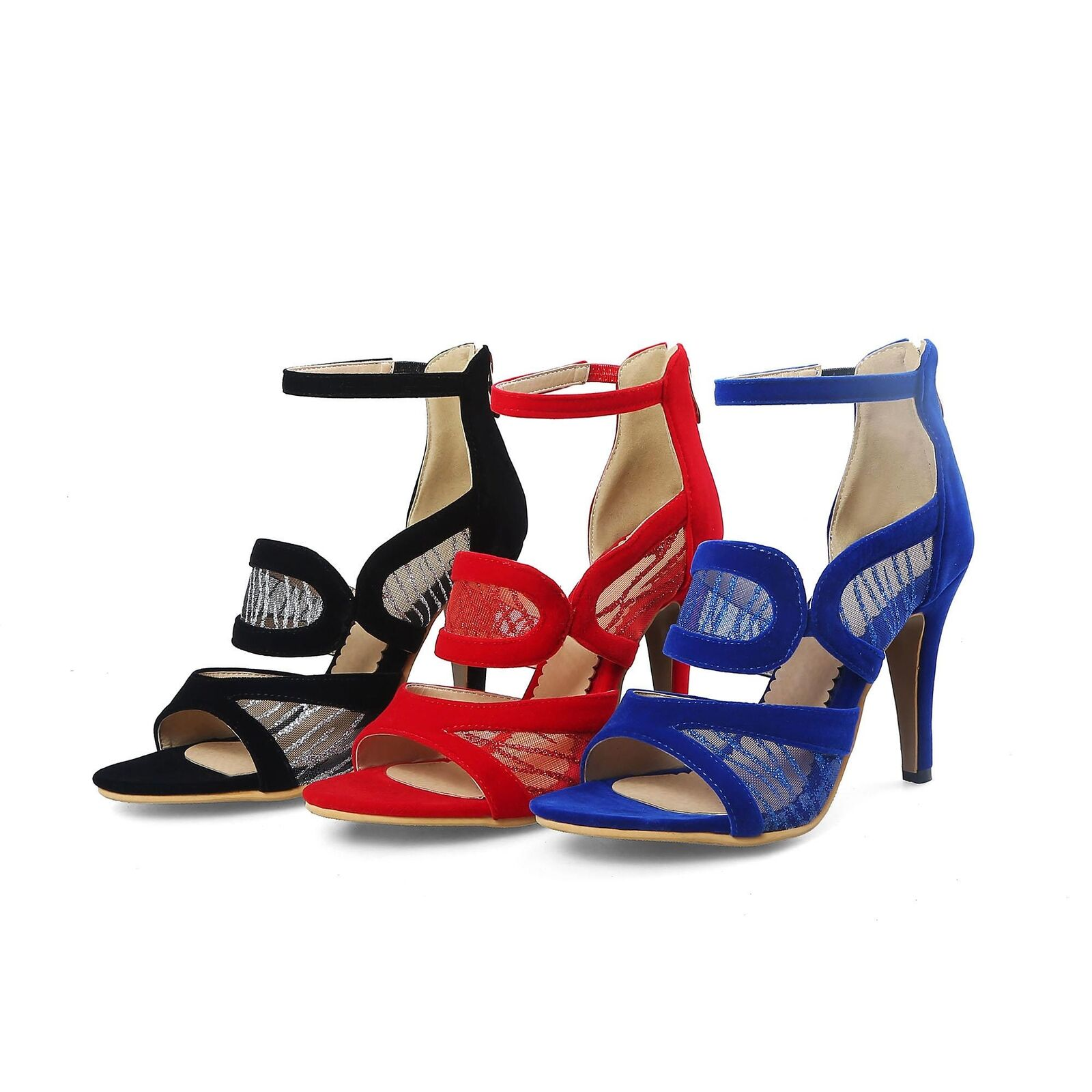 Womens Open Toe Hollow Out Pumps Sandals Mesh Heels  High Heels Mesh Party Shoes plus size 3f1cbb