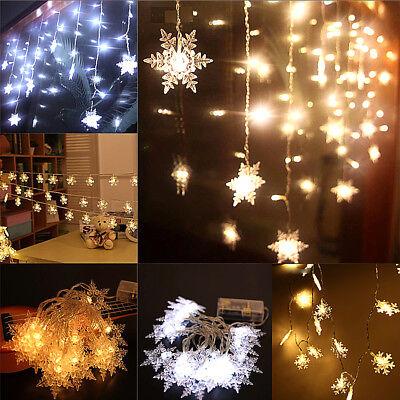 50 Led Christmas Snowflake Fairy String Lights Garden Wedding