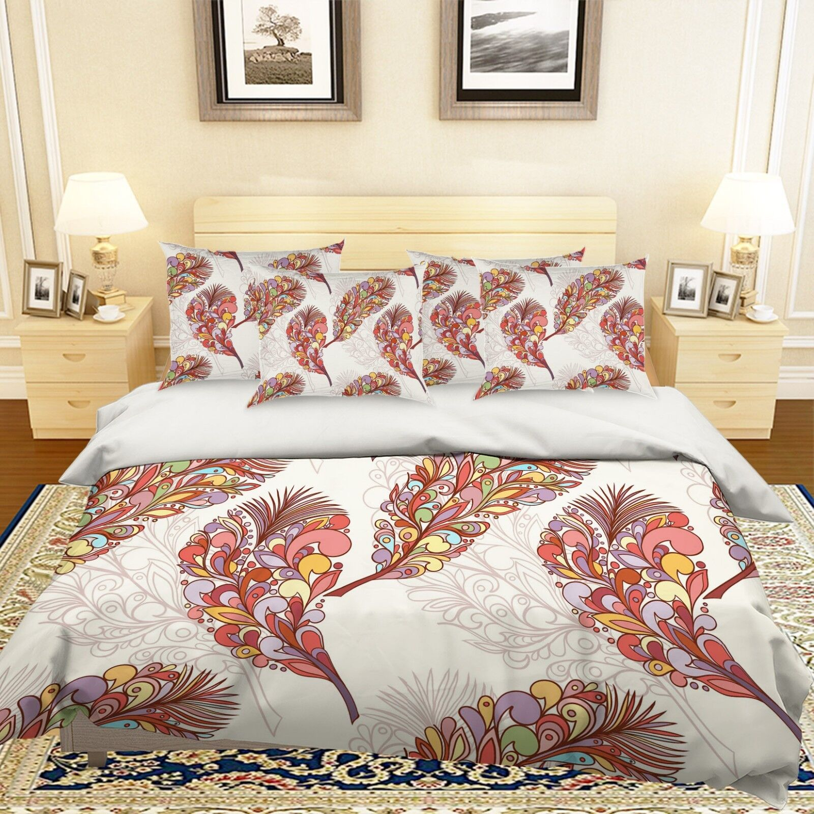 3D Farbe Feathers 66 Bed Pillowcases Quilt Duvet Cover Set Single King UK Summer
