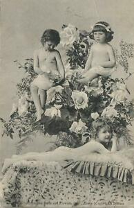 VINTAGE-3-SEMI-NUDE-YOUNG-GIRLS-POSTCARD-Series-34-Buds-amp-Flowers-Kerry-Sydney