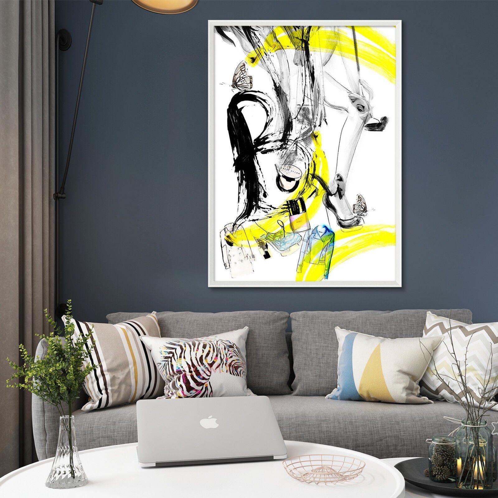 3D Negro Amarillo Graffiti 3 Enmarcado Cartel Decoración del Hogar Pintura de Impresión Arte Wallpaper