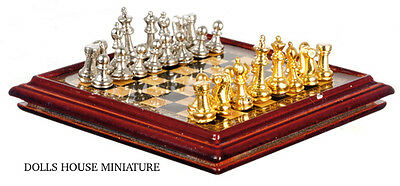 Metal Chess Set & Board, Doll House 1.12th Scale Miniature.