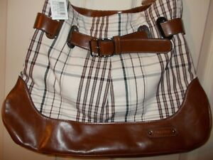 Burberry Check Style Medium Size Eco Leather Brown Cream Shoulder ... b018ea7706239