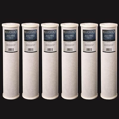 "Big Blue CTO Carbon Block Water Filters (6) 4.5"" x  20"" Whole House Cartridges"