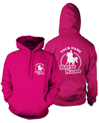 Personalised Horsey Hoodie-rider's Name And Horse Name-kids & Adults Equestrian Im In- Und Ausland FüR Exquisite Verarbeitung, Gekonntes Stricken Und Elegantes Design BerüHmt Zu Sein