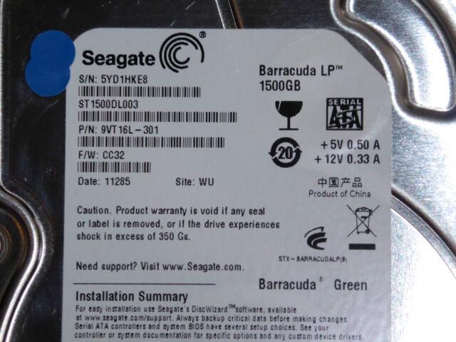 Seagate ST1500DL003 | 5YD | P/N: 9VT16L-301 | F/W: CC32 | WU | 1,5TB #02