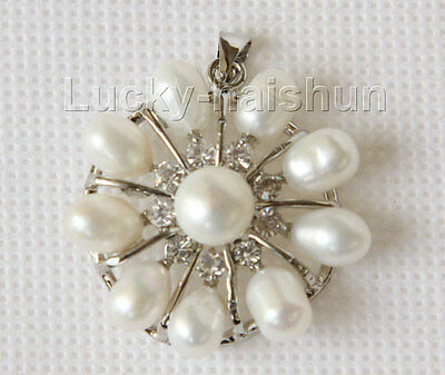 30mm snowflake shape white Freshwater pearls necklace pendant j10195