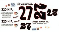 #27 Junior Johnson Gaddy Motors 1959 1/24th - 1/25th Scale Waterslide Decals