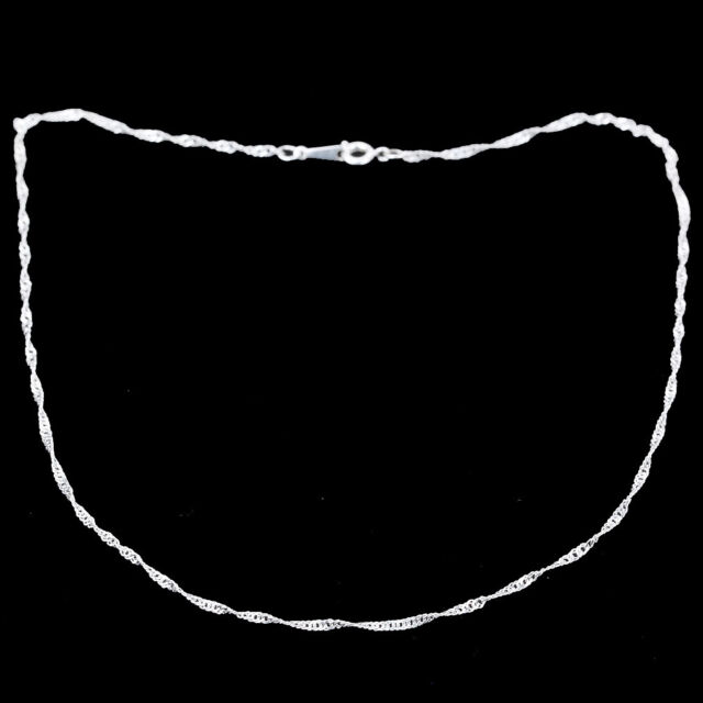 silver filled plain flat curb rings links chain solid mens womens necklace