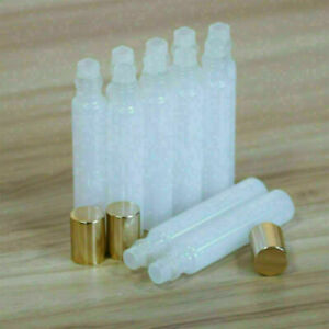 10-10ML-White-Glass-Roller-Bottles-Glass-Ball-Gold-Cap-for-Perfume-Essential-Oil