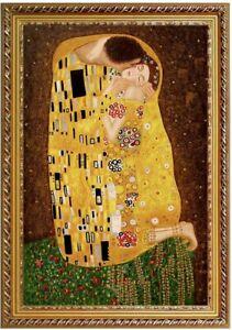 Ölbild der Kuss, Klimt Gustav, Ölgemälde handgemalt Gemälde F:60x90cm