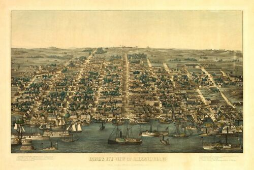Alexandria Virginia 1863 Antique City Map Rolled Canvas Giclee Print 34x24 in