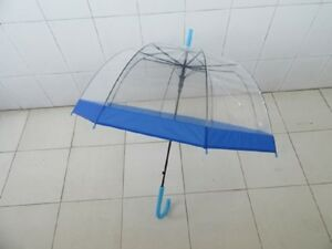 1Pc-Clear-Wind-Water-Proof-Umbrella-DOME-Parasol-Dark-Blue-Borde