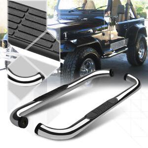 Chrome-3-034-Round-Tube-Side-Step-Nerf-Bar-Running-Board-for-87-06-Jeep-Wrangler