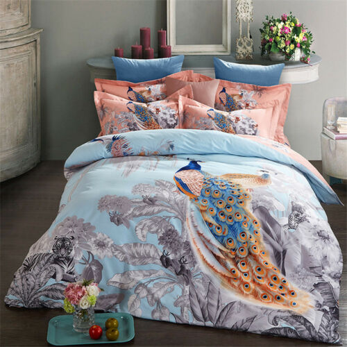 4PCS Bedding Sets Activity Printing Peacock Thick Cotton Duvet Cover Bedding Set