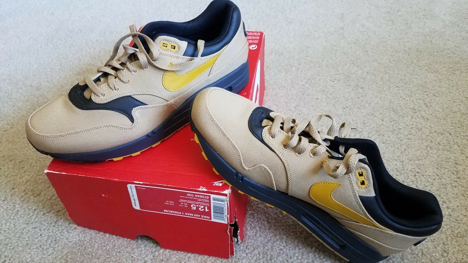 Nike Air Max 1 Premium Elemental Gold/Mineral Yellow Size 12.5