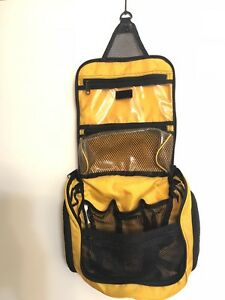 Details About L Bean Hanging Toiletry Bag With Mirror Yellow Black Travel Shaving Makeup