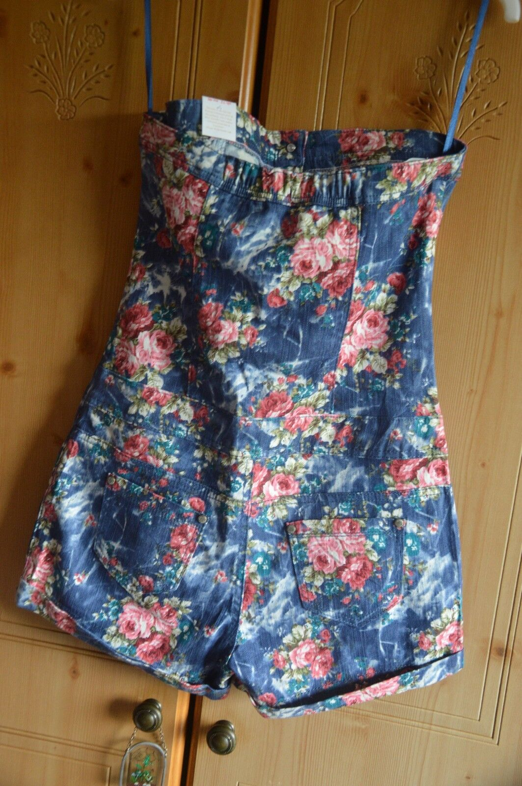 New Look denim floral playsuit Parisian pinks vintage New with tags Size 12