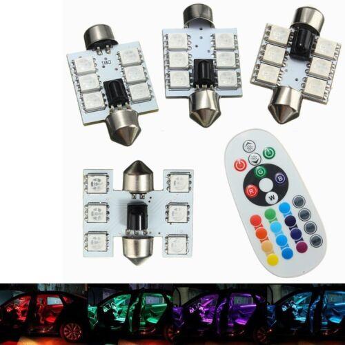 LED 16 color Car Interior Dome Reading Light Lamp Bulb RGB w//Remote Control *2