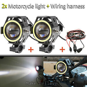 u7 moto led headlight high power spot light angel eyes amp image is loading u7 moto led headlight high power spot light