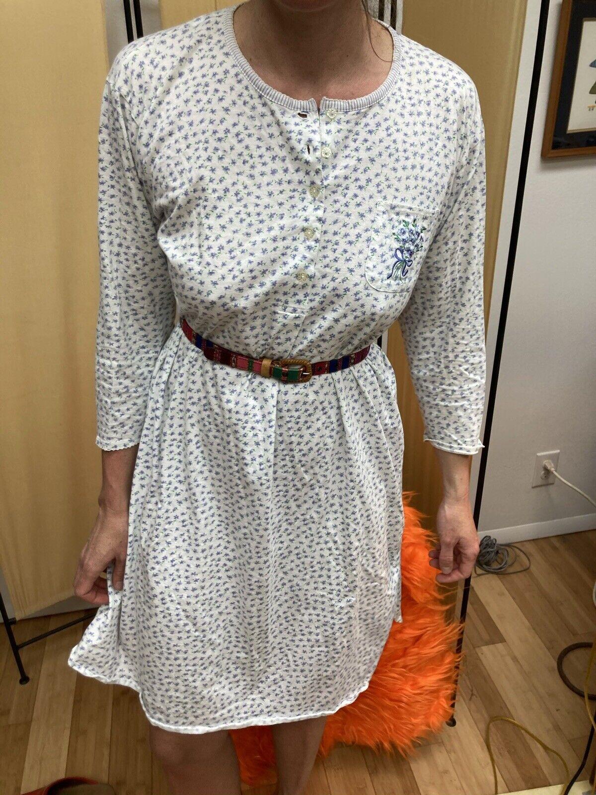 Vtg 90s Carol Hoochman M Cotton White W/Purple Flowers Nightgown