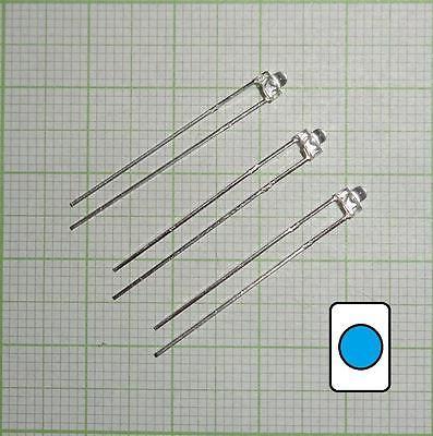 10X wasserklar Led (1,8mm)  blau + Wiederstand  - E104
