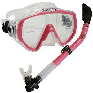 Scuba-Dive-Lady-Mask-amp-SOS-Whistle-Dry-Snorkel-Gear-Set