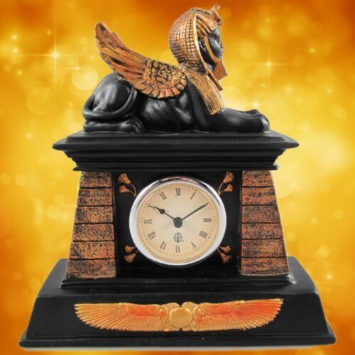 Tischuhr Löwe Sphinx Polystein farbig Geschenk Kamin Uhr Ägypten Housekeeping1